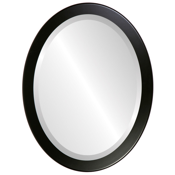 Beveled Mirror - Vienna Oval Frame - Matte Black