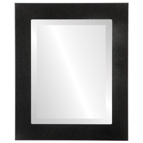 Beveled Mirror - Cafe Rectangle Frame - Black Silver