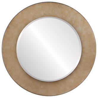 Beveled Mirror - Cafe Round Frame - Burnished Silver