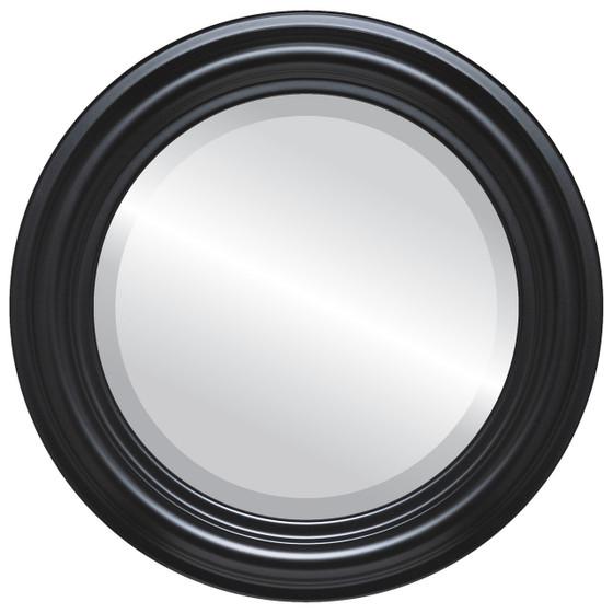Beveled Mirror - Philadelphia Round Frame - Matte Black