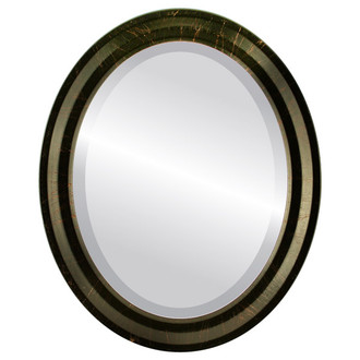 Beveled Mirror - Newport Oval Frame - Veined Onyx