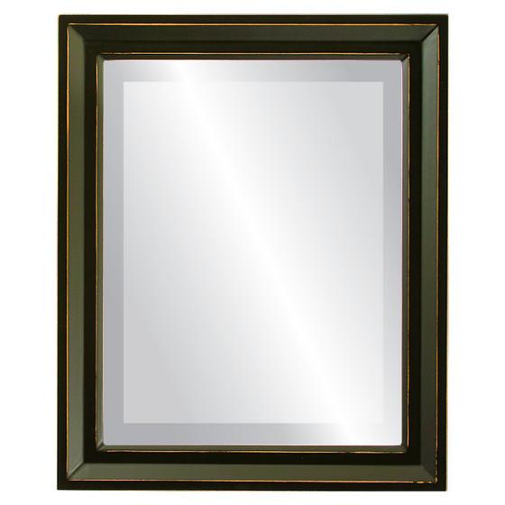 Beveled Mirror - Newport Rectangle Frame - Rubbed Black