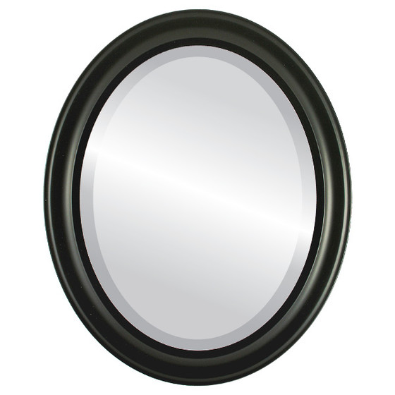 Beveled Mirror - Messina Oval Frame - Matte Black