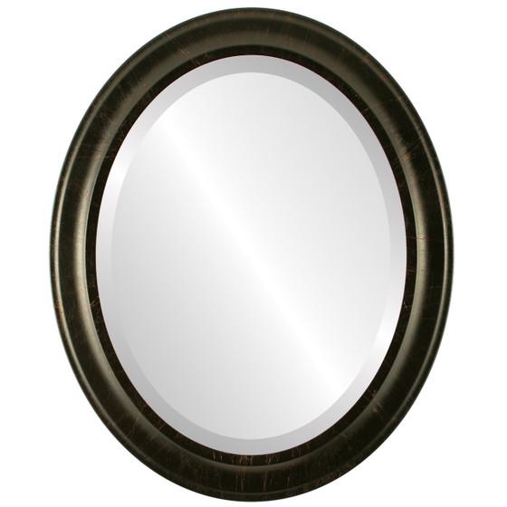 Beveled Mirror - Messina Oval Frame - Veined Onyx