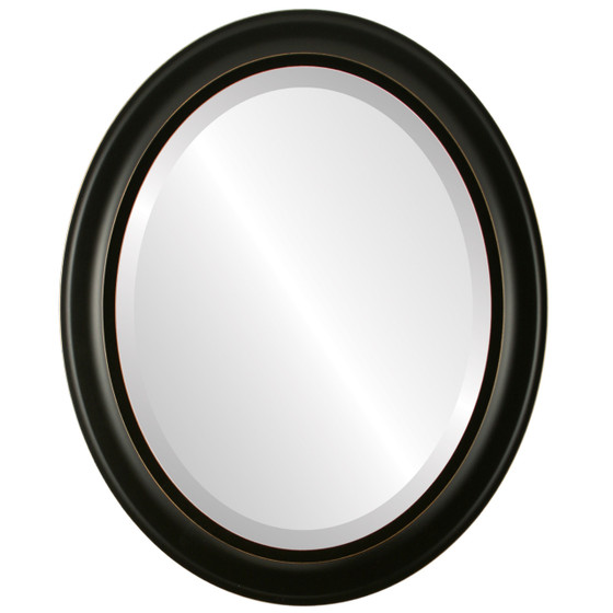 Beveled Mirror - Messina Oval Frame - Rubbed Black