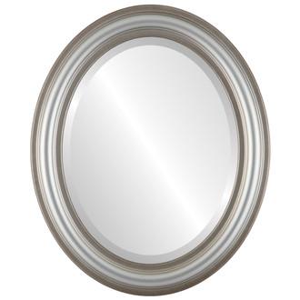 Beveled Mirror - Philadelphia Oval Frame - Silver Shade