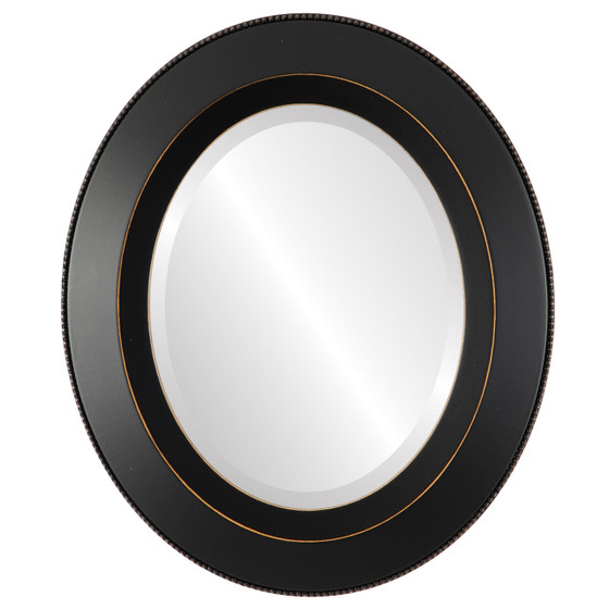 Beveled Mirror - Lombardia Oval Frame - Rubbed Black
