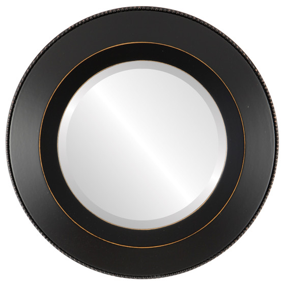 Beveled Mirror - Lombardia Round Frame - Rubbed Black