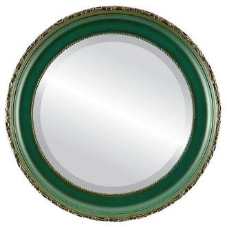 Beveled Mirror - Kensington Round Frame - Hunter Green