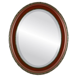 Beveled Mirror - Kensington Oval Frame - Rosewood
