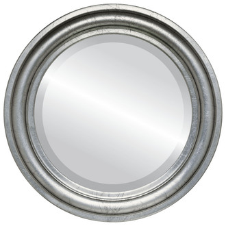 Beveled Mirror - Philadelphia Round Frame - Silver Leaf with Black Antique