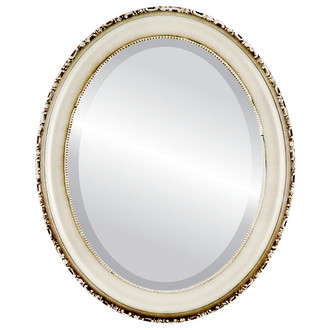 Beveled Mirror - Kensington Oval Frame - Taupe