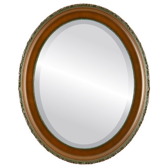 Beveled Mirror - Kensington Oval Frame - Walnut