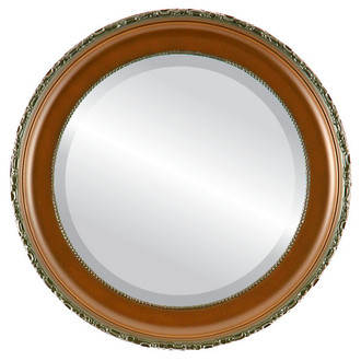 Beveled Mirror - Kensington Round Frame - Walnut