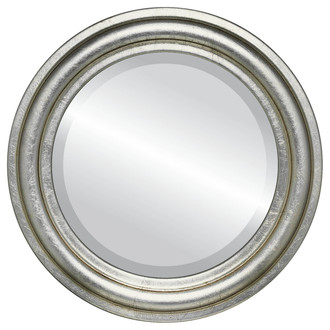 Beveled Mirror - Philadelphia Round Frame - Silver Leaf with Brown Antique