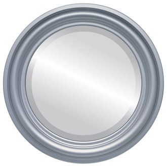 Beveled Mirror - Philadelphia Round Frame - Silver Spray