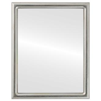 Beveled Mirror - Pasadena Rectangle Frame - Silver Leaf with Brown Antique