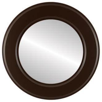 Beveled Mirror - Marquis Round Frame - Stone Brown
