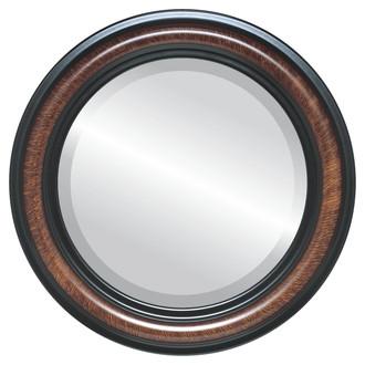 Beveled Mirror - Philadelphia Round Frame - Vintage Walnut