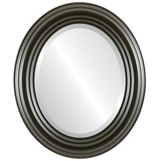 Beveled Mirror - Regalia Oval Frame - Black Walnut