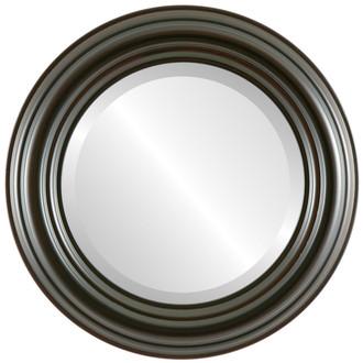 Beveled Mirror - Regalia Round Frame - Black Walnut