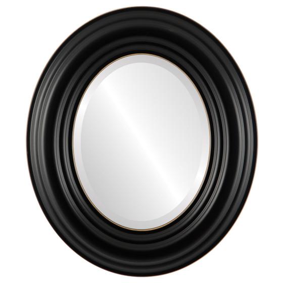 Beveled Mirror - Regalia Oval Frame - Rubbed Black