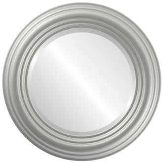 Beveled Mirror - Regalia Round Frame - Bright Silver
