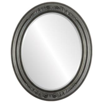 Beveled Mirror - Florence Oval Frame - Black Silver
