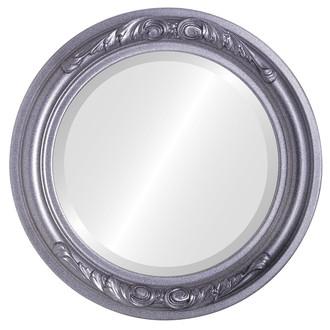 Beveled Mirror - Florence Round Frame - Black Silver