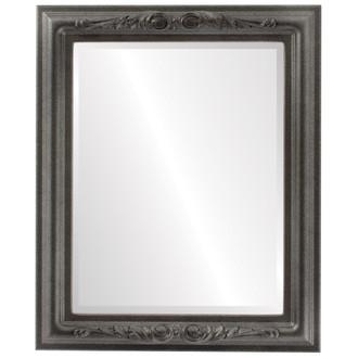 Beveled Mirror - Florence Rectangle Frame - Black Silver