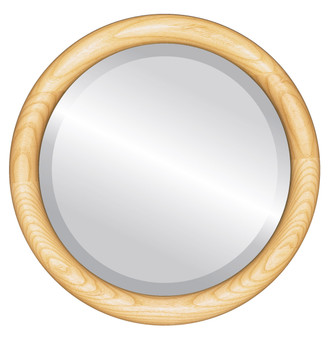 Beveled Mirror - Sydney Round Frame - Honey Oak