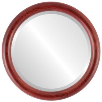 Beveled Mirror - Sydney Round Frame - Rosewood