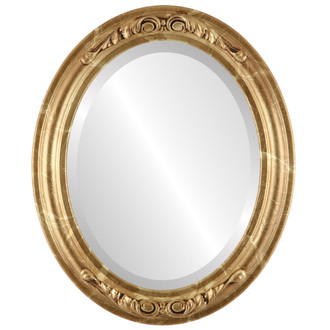 Beveled Mirror - Florence Oval Frame - Champagne Gold