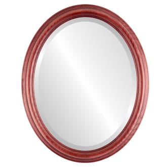 Beveled Mirror - Melbourne Oval Frame - Rosewood
