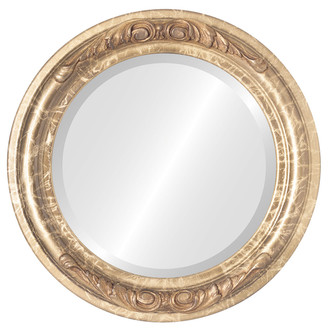 Beveled Mirror - Florence Round Frame - Champagne Gold