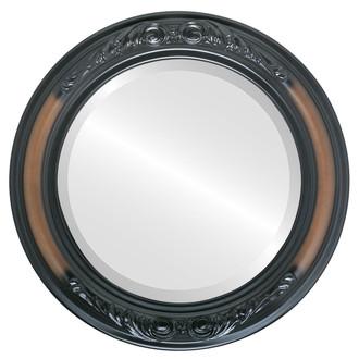 Beveled Mirror - Florence Round Frame - Walnut