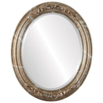 Beveled Mirror - Florence Oval Frame - Champagne Silver