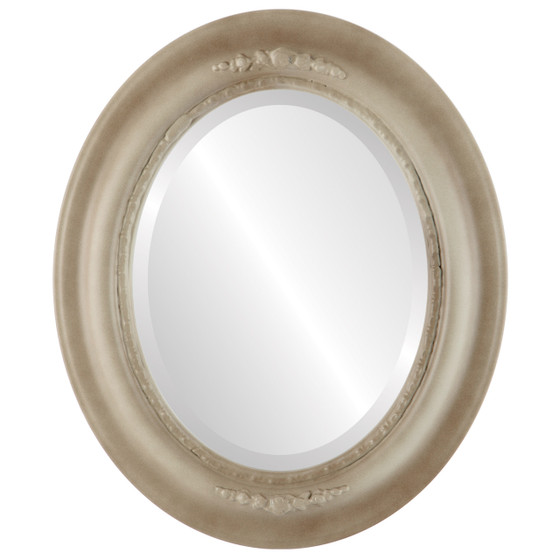 Beveled Mirror - Boston Oval Frame - Taupe