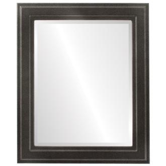 Beveled Mirror - Wright Rectangle Frame - Black Silver