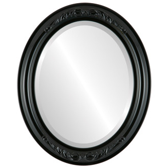 Beveled Mirror - Florence Oval Frame - Gloss Black