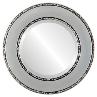 Beveled Mirror - Paris Round Frame - Silver Spray