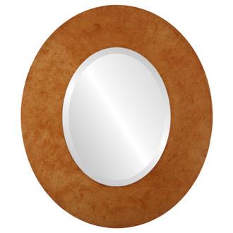 Beveled Mirror - Tribeca Oval Frame - Burnished Gold