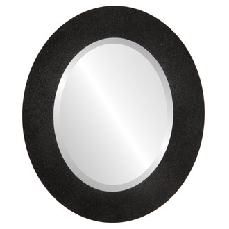 Beveled Mirror - Ashland Oval Frame - Black Silver