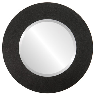 Beveled Mirror - Ashland Round Frame - Black Silver