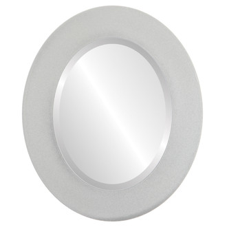 Beveled Mirror - Ashland Oval Frame - Bright Silver