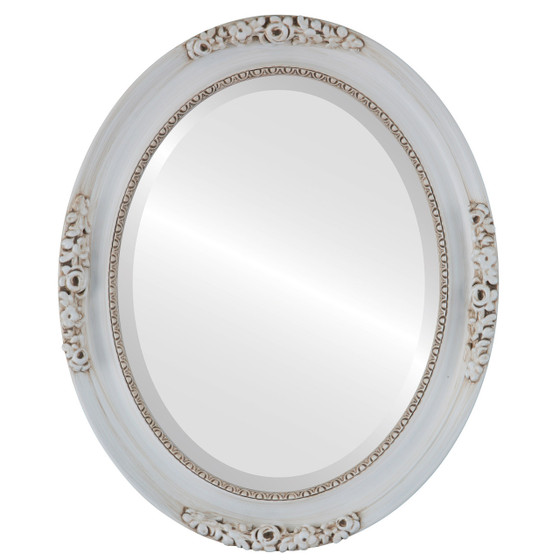 Beveled Mirror - Versailles Oval Frame - Antique White