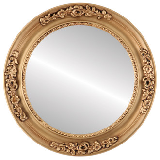 Beveled Mirror - Versailles Round Frame - Gold Paint
