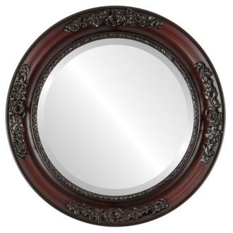 Beveled Mirror - Versailles Round Frame - Rosewood