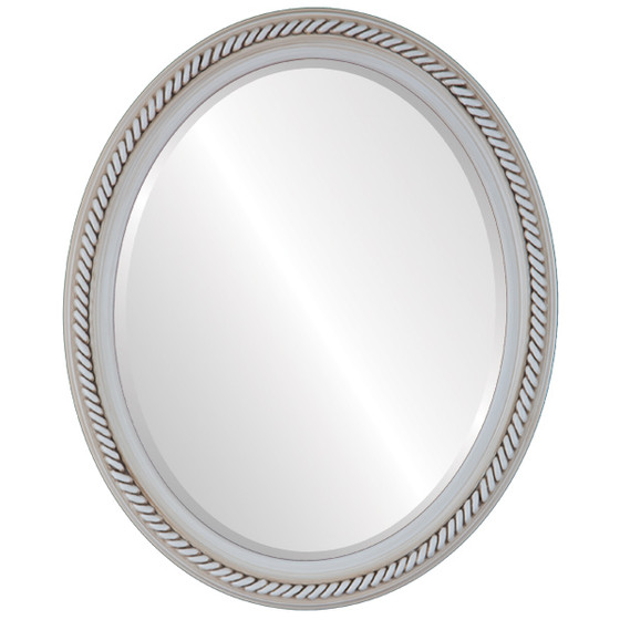 Beveled Mirror - Santa Fe Oval Frame - Antique White