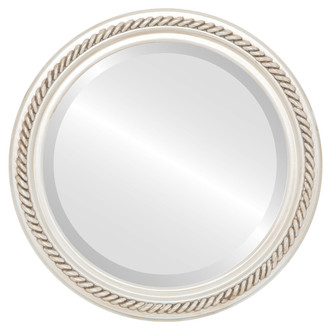 Beveled Mirror - Santa Fe Round Frame - Antique White